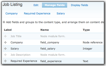 fields for the job listing type