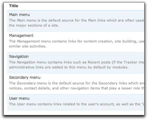 Drupal 7's updated menu admin page