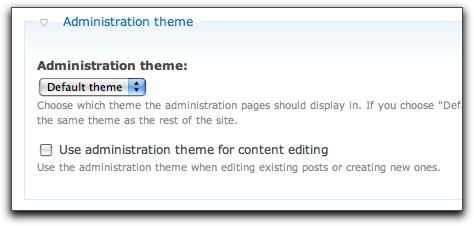 Drupal 7's admin theme selection box.