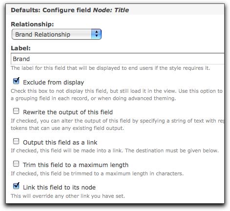 Brand field settings