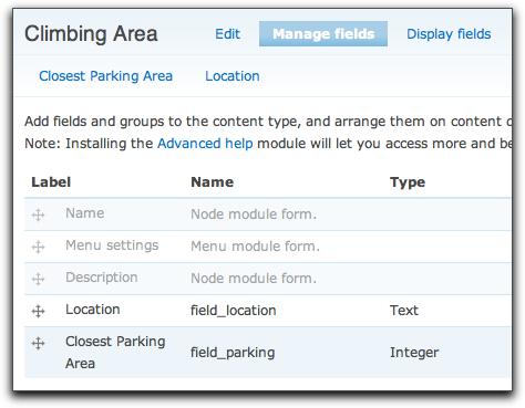 Climbing Area content type description