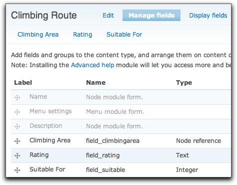 Climbing Route content type description