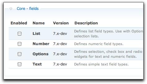 Drupal 7 fields in core
