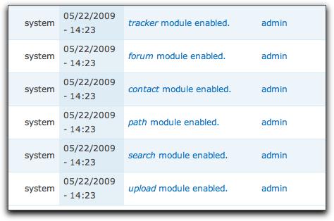 Drupal 7 module enable-disable log