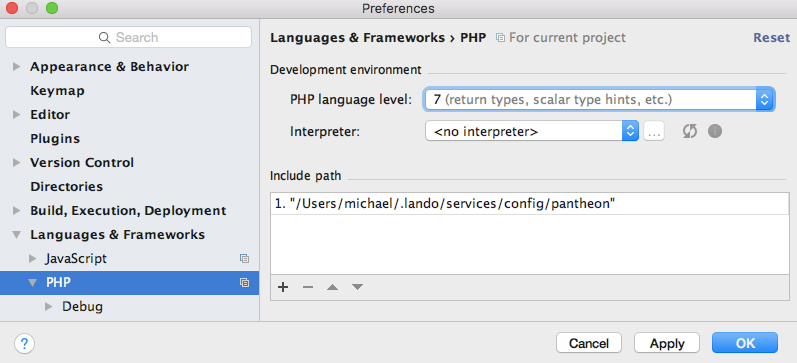 PhpStorm PHP preferences