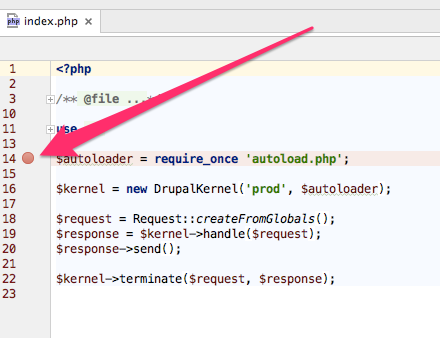 PhpStorm set a breakpoint.