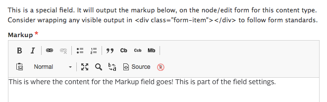 Editing a Markup field.