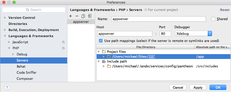 PhpStorm PHP Servers preferences