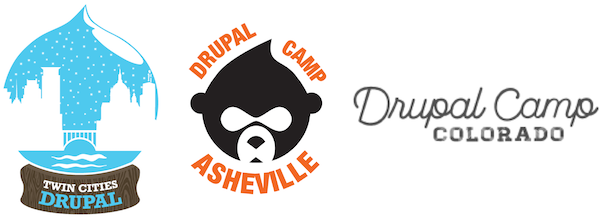 Twin Cities Drupal Camp, Asheville Drupal Camp, Colorado DrupalCamp logos