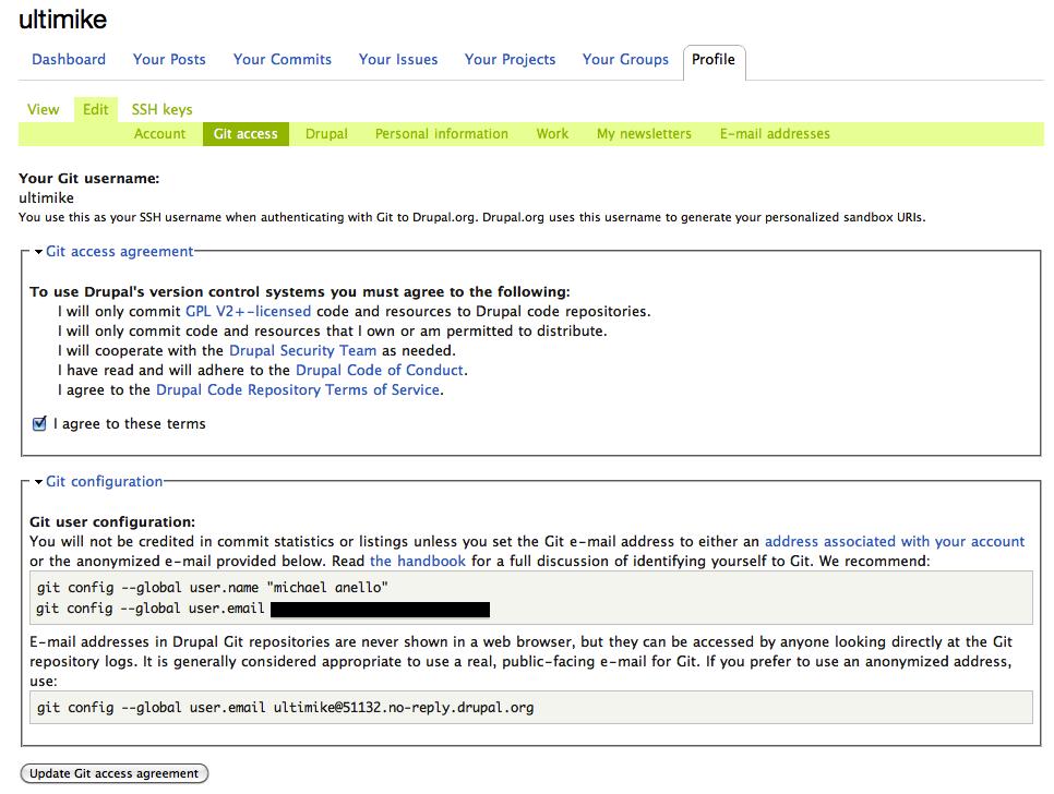 Git Access page