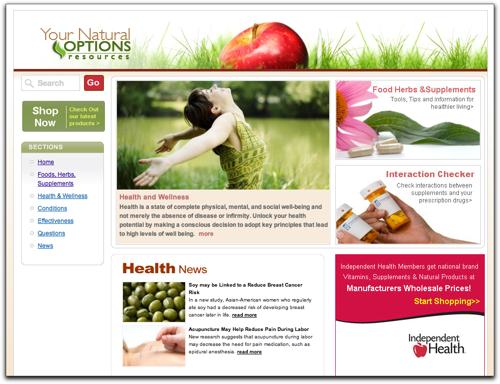 resources.yournaturaloptions.com home page