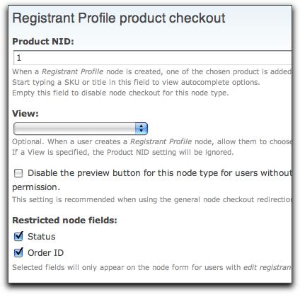 registrant profile checkout settings