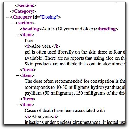 Sample XML data