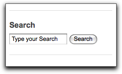 Drupal search block with black default text.
