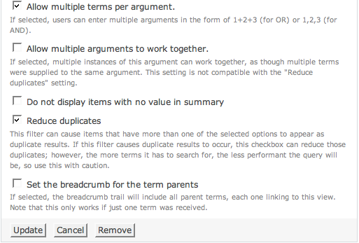 Allow multiple terms, reduce duplicates