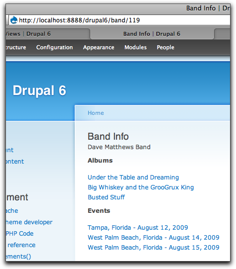 Final Band Info page
