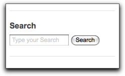 Drupal search block with gray default text.