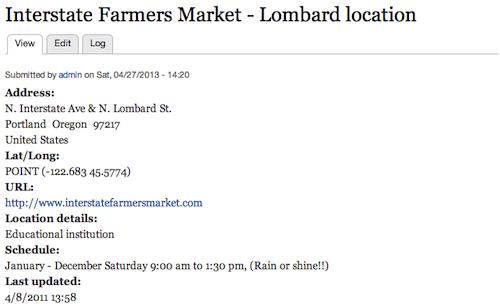 Initial Farmers Market node display
