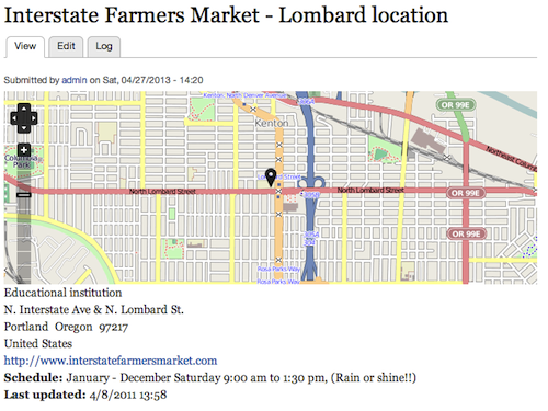 Pimped Farmers Market node display